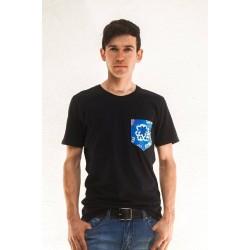 T- Shirt emens Tasche Blau